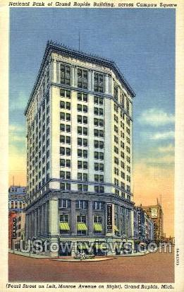 National Bank Building, Campau Square - Grand Rapids, Michigan MI Postcard