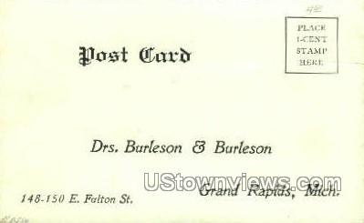 Drs. Burleson & Burleson - Grand Rapids, Michigan MI Postcard