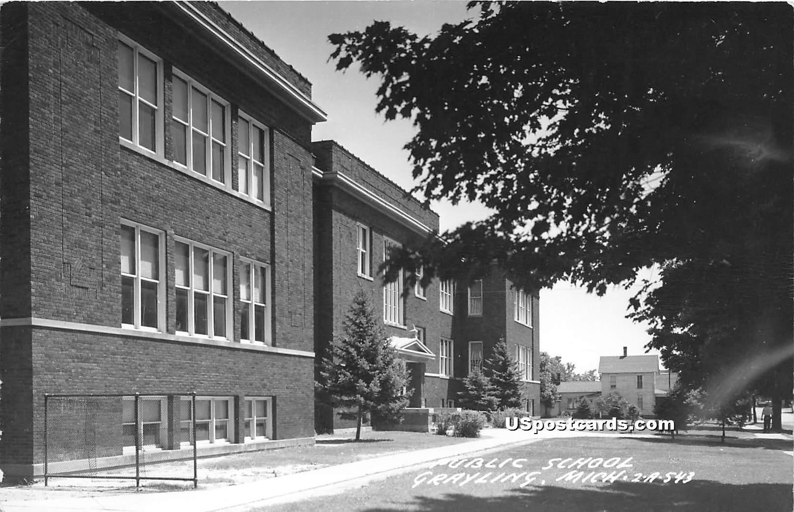 Public School - Grayling, Michigan MI Postcard
