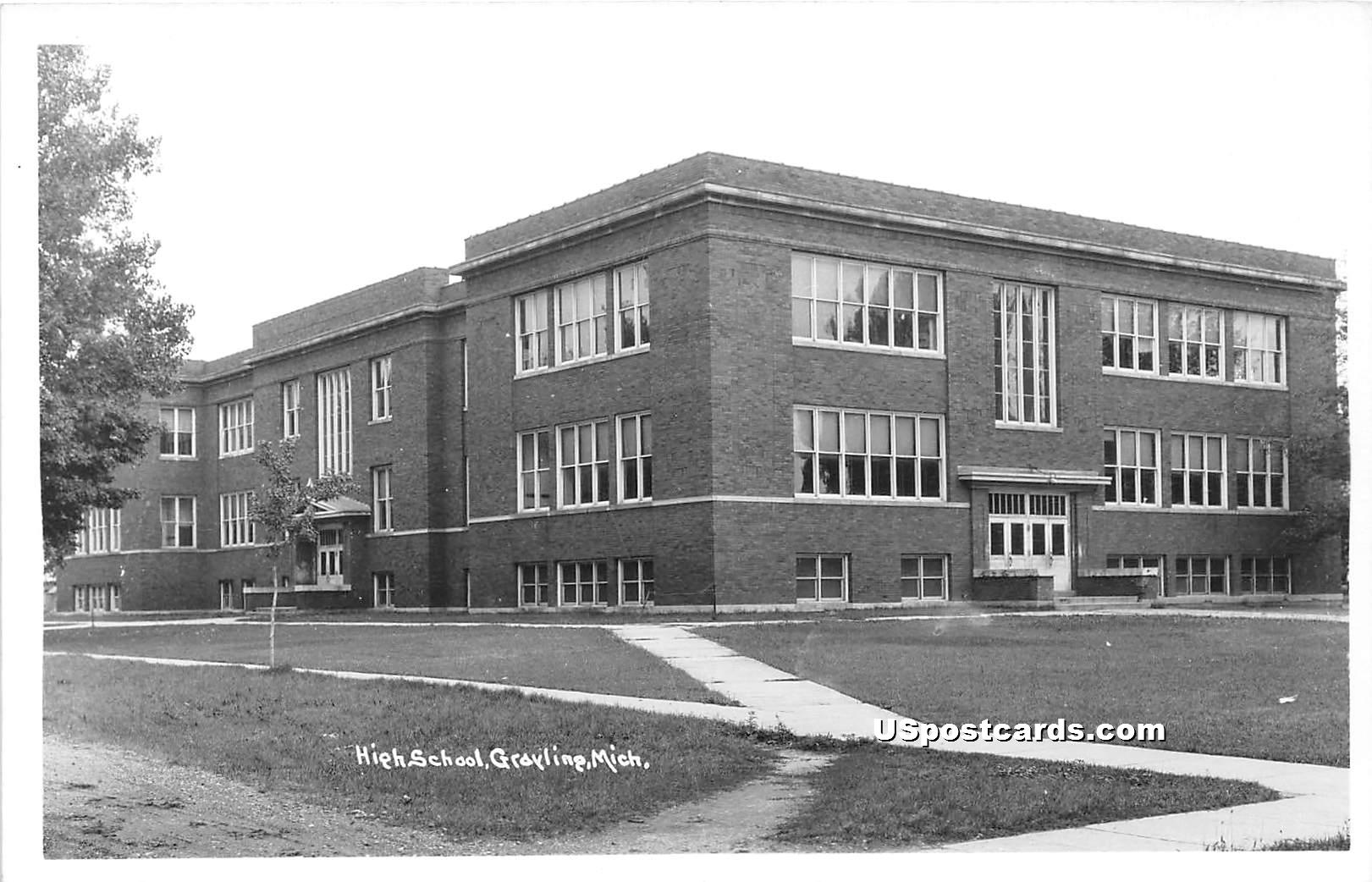 High School - Grayling, Michigan MI Postcard