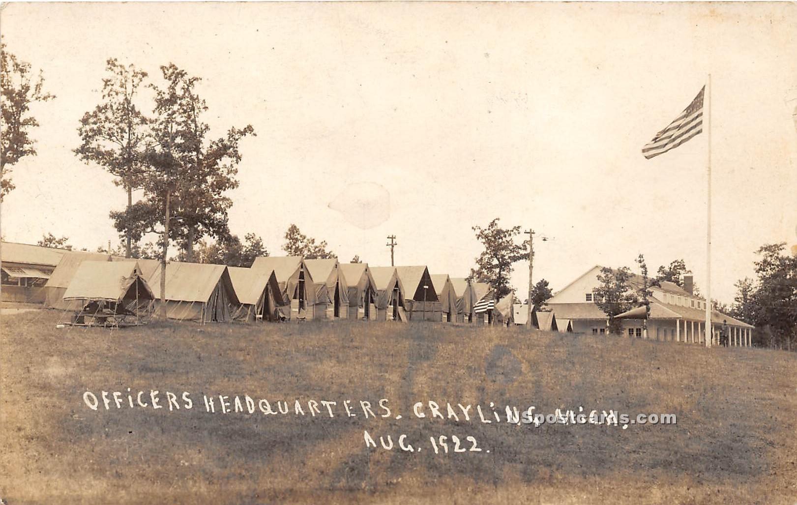 Officers Headquarters - Grayling, Michigan MI Postcard
