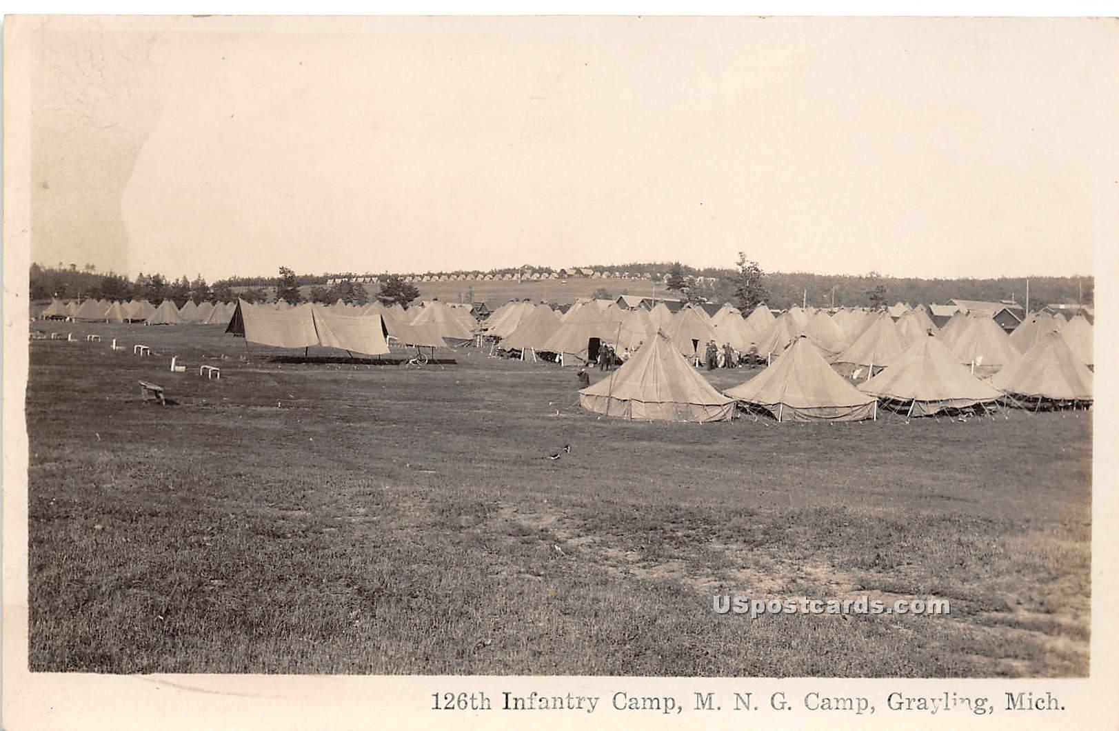 126th Infantry Camp - Grayling, Michigan MI Postcard