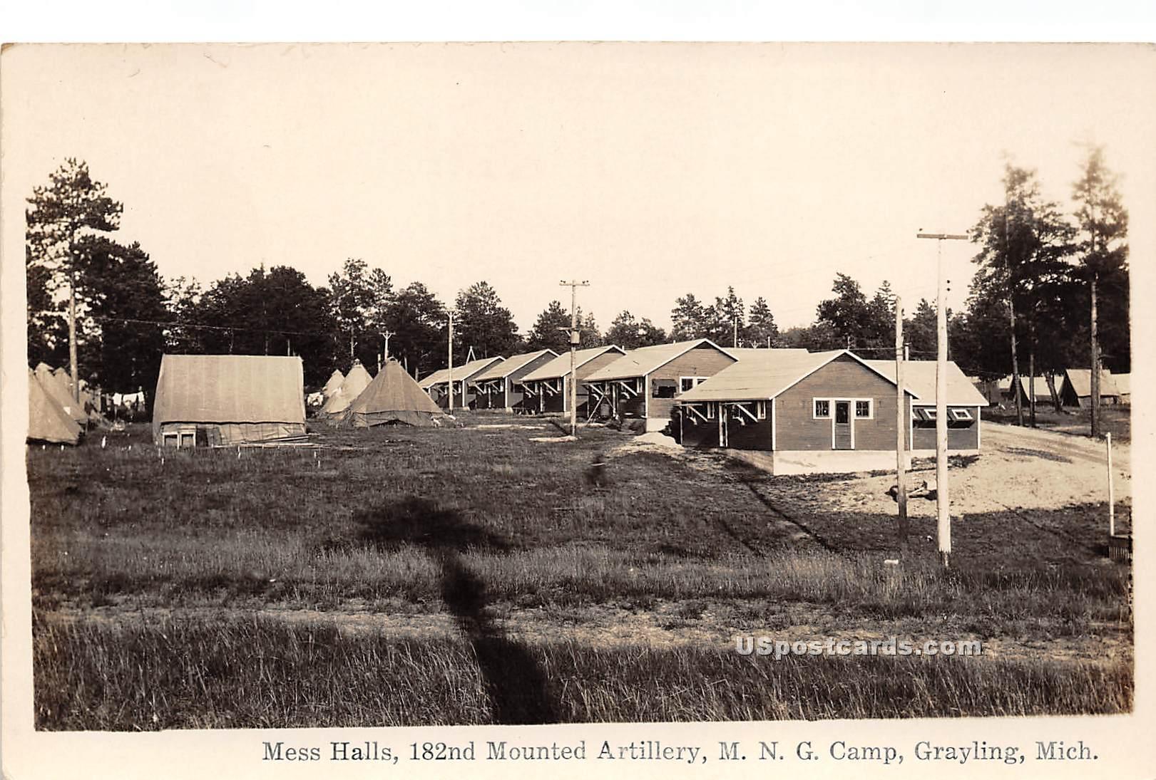 Mess Halls, 182nd Mounted Artillery - Grayling, Michigan MI Postcard