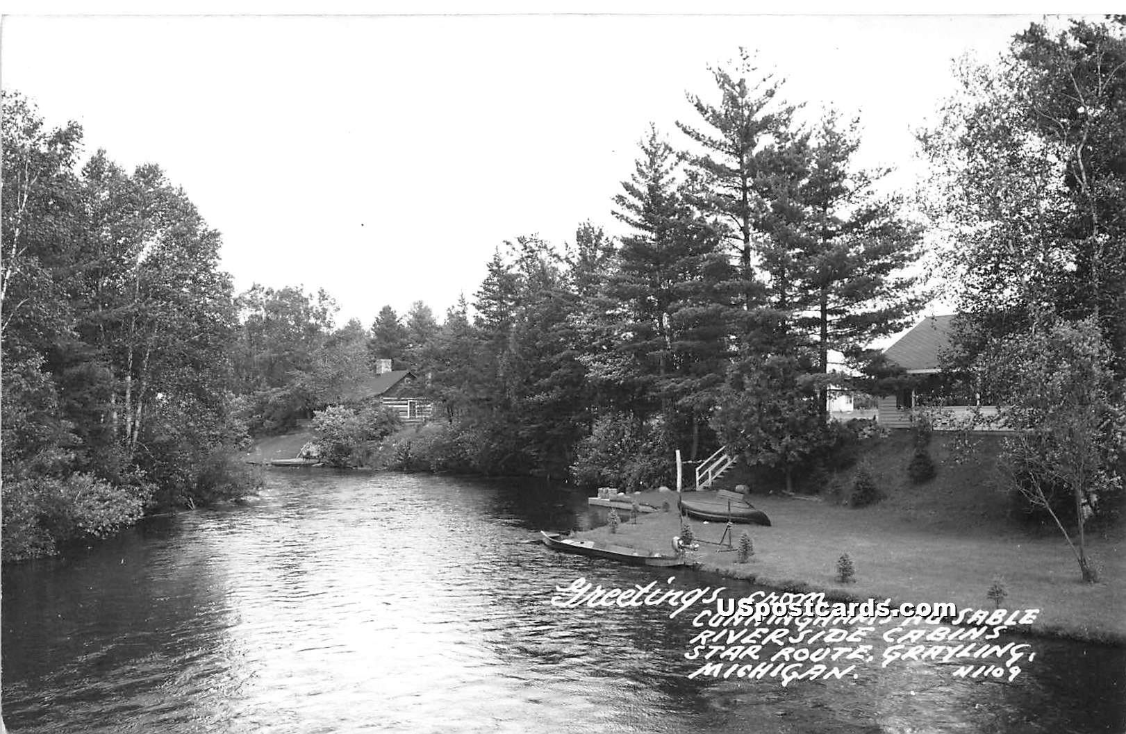 Cunningham's Au Sble Riverside Cabins - Grayling, Michigan MI Postcard