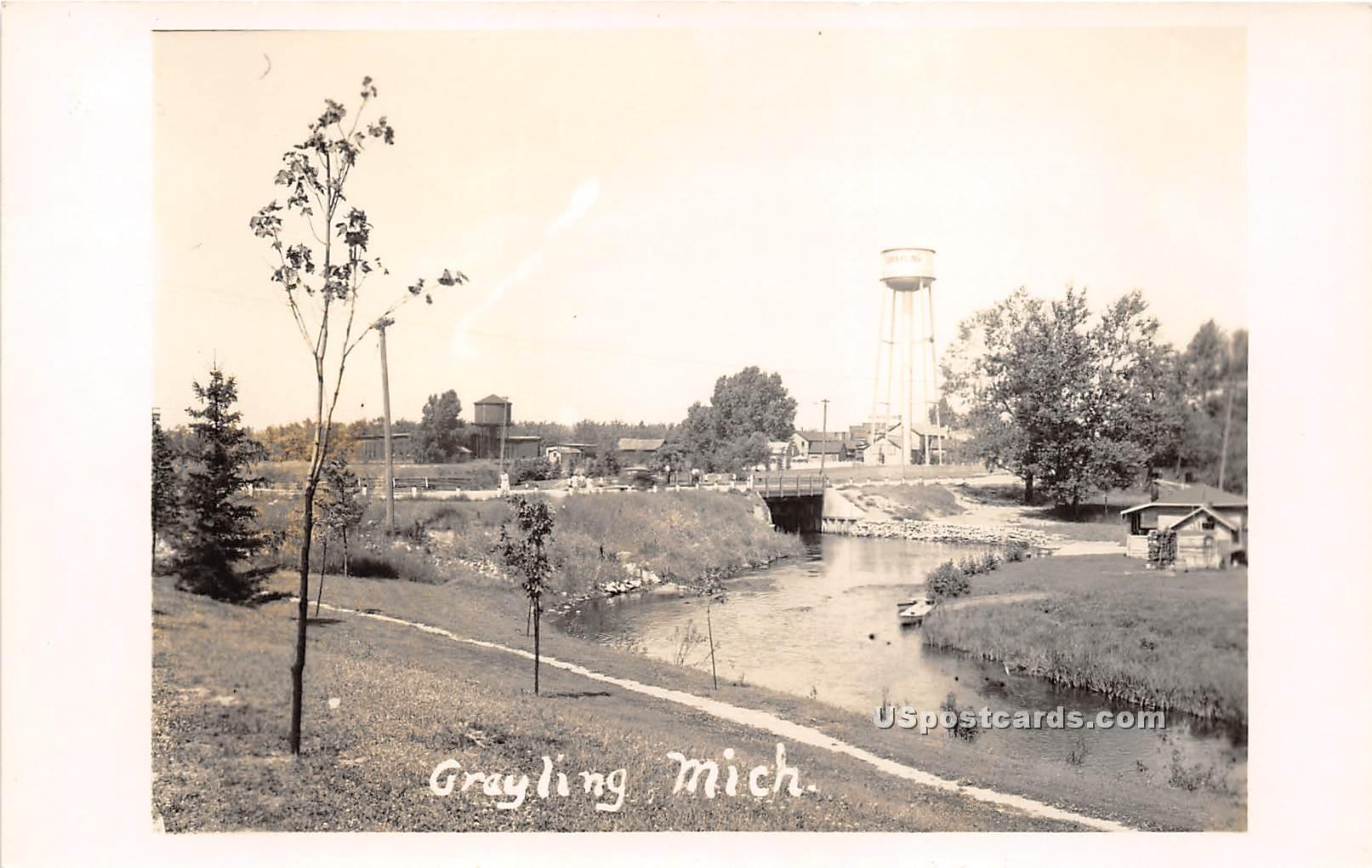 Water Scene - Grayling, Michigan MI Postcard