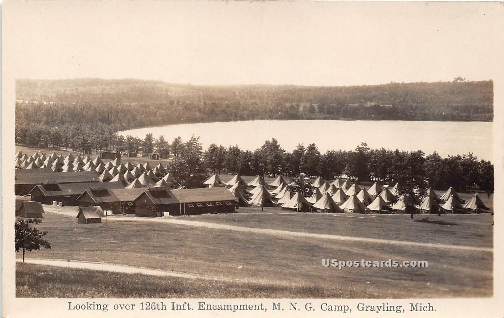 126th Infantry Camp - Grayling, Michigan MI Postcard