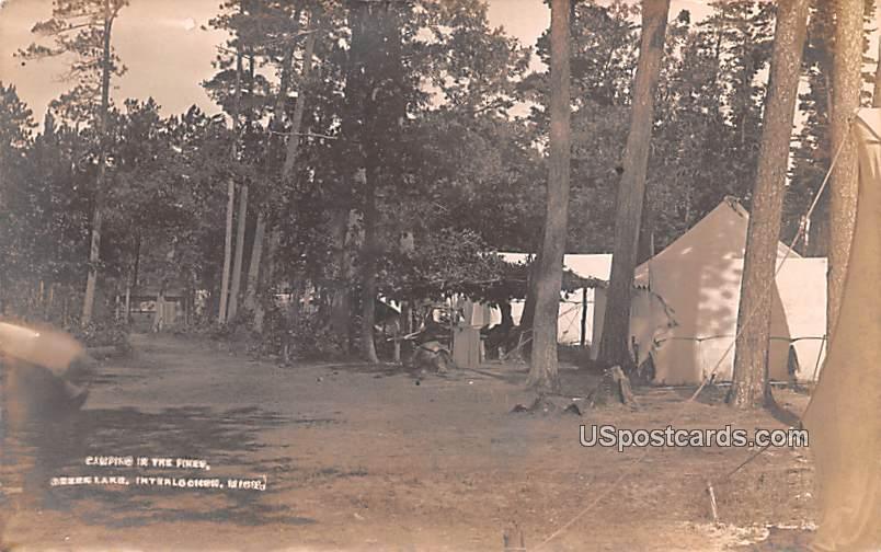 Camping in the Pines - Interlachen, Michigan MI Postcard