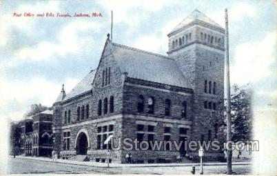 Post office and Elks Temple - Jackson, Michigan MI Postcard