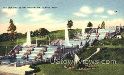 The Cascades, Sparks Foundation - Jackson, Michigan MI Postcard