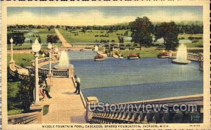 Middle Fountain Pool, Cascades - Jackson, Michigan MI Postcard