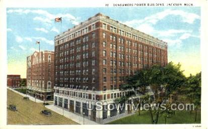 Consumers Power Building - Jackson, Michigan MI Postcard