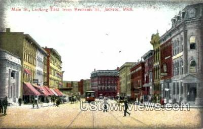 Main Street looking East from Mechanic St. - Jackson, Michigan MI Postcard