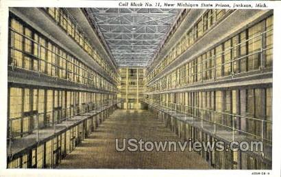Cell Block no. 11, new State Prison - Jackson, Michigan MI Postcard