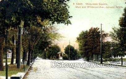 Main and Wildwood Ave. - Jackson, Michigan MI Postcard