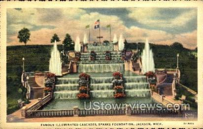 Famous Illuminated Cascades - Jackson, Michigan MI Postcard
