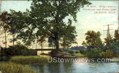 Bridge between Vandercook and Brown Lakes - Jackson, Michigan MI Postcard