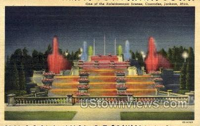 One of the Kaleidoscopic Scenes, Cascades - Jackson, Michigan MI Postcard