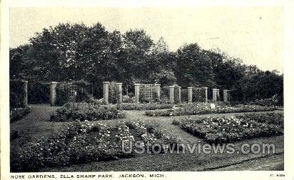 Rose Gardens, Ella Sharp Park - Jackson, Michigan MI Postcard