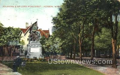 Soldiers and Sailors Monument - Jackson, Michigan MI Postcard