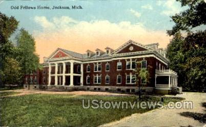 Odd Fellows Home - Jackson, Michigan MI Postcard