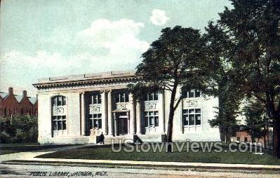 Public Library  - Jackson, Michigan MI Postcard
