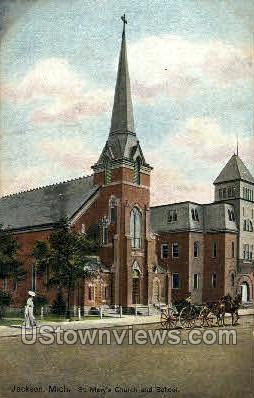 St. Mary's Church and School - Jackson, Michigan MI Postcard
