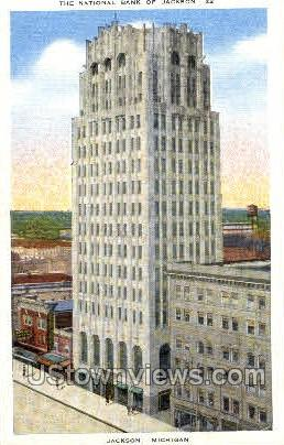 The National Bank of Jackson - Michigan MI Postcard