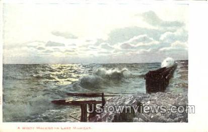 A Windy Morning on Lake Michigan - Lake Michigan Postcards Postcard