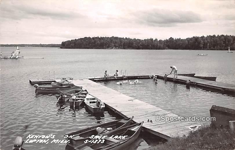 Kenyon's on Sage Lake - Lupton, Michigan MI Postcard