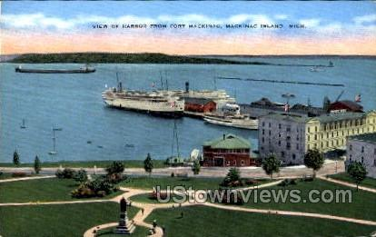 Harbor from Fort Mackinac - Mackinac Island, Michigan MI Postcard