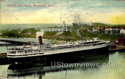 Anchor Line Dock  - Marquette, Michigan MI Postcard