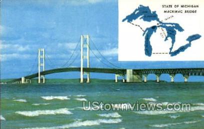 Mackinac Bridge - MIsc, Michigan MI Postcard