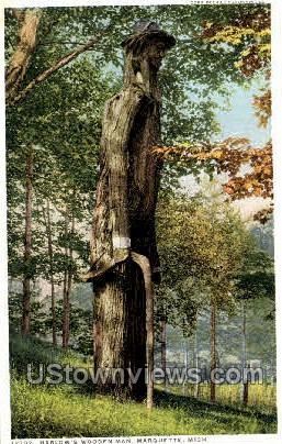 Harlow's Wooden Man - Marquette, Michigan MI Postcard