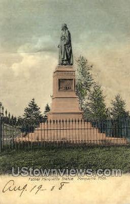 Father Marquette Statue - Michigan MI Postcard