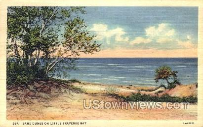 Sand Dunes on Little Traverse Bay - MIsc, Michigan MI Postcard