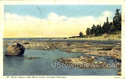Rocky Shore, Lake Shore Drive - MIsc, Michigan MI Postcard