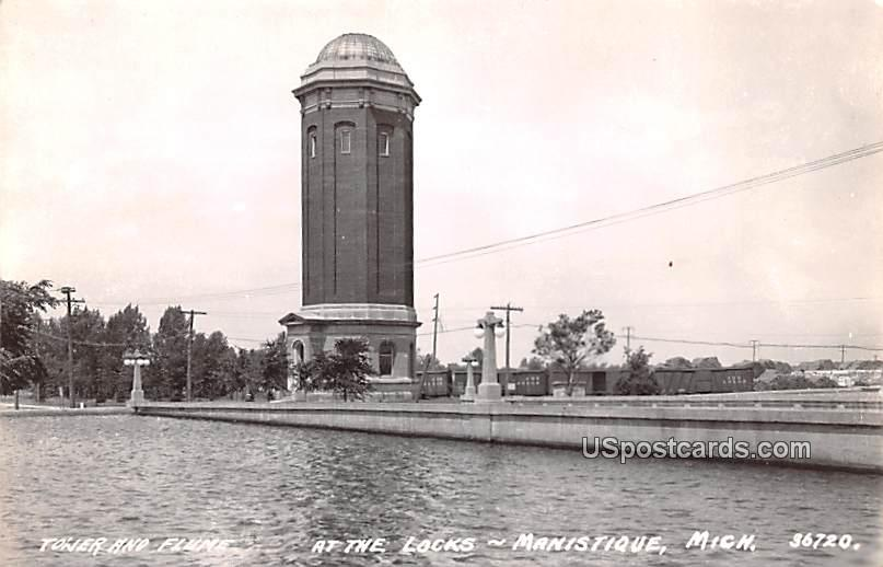 Tower and Flume - Manistique, Michigan MI Postcard