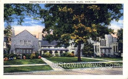 Prebyterian Church and Parsonage - Niles, Michigan MI Postcard