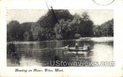 Boating on River - Niles, Michigan MI Postcard