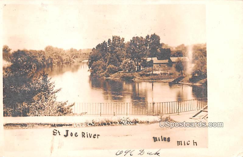 St Joe River - Niles, Michigan MI Postcard