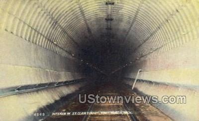 Interior of St. Clair Tunnel - Port Huron, Michigan MI Postcard