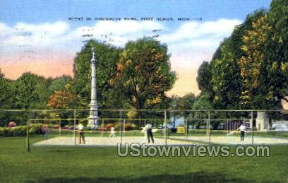 Scene in Pinegrove Park - Port Huron, Michigan MI Postcard