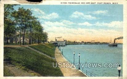 River Promenade and Ore Boat - Port Huron, Michigan MI Postcard