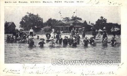 Bathing Scene, Edison Beach - Port Huron, Michigan MI Postcard