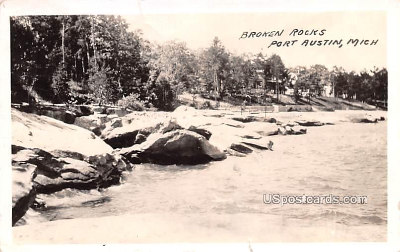 Brocken Rocks - Port Austin, Michigan MI Postcard