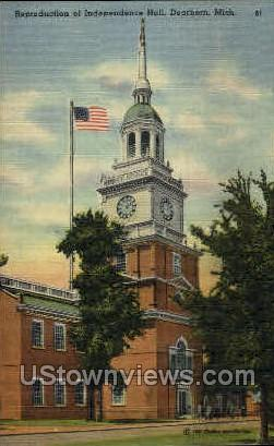 Reproduction of Independence Hall - Dearborn, Michigan MI Postcard