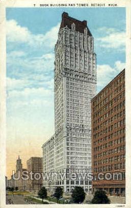 Book Building and Tower - Detroit, Michigan MI Postcard
