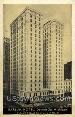 Barlum Hotel - Detroit, Michigan MI Postcard
