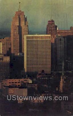 Detroit Skyline from Downriver - Michigan MI Postcard