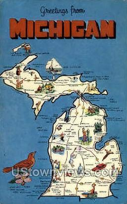 Greetings from Michigan Map - MIsc Postcard